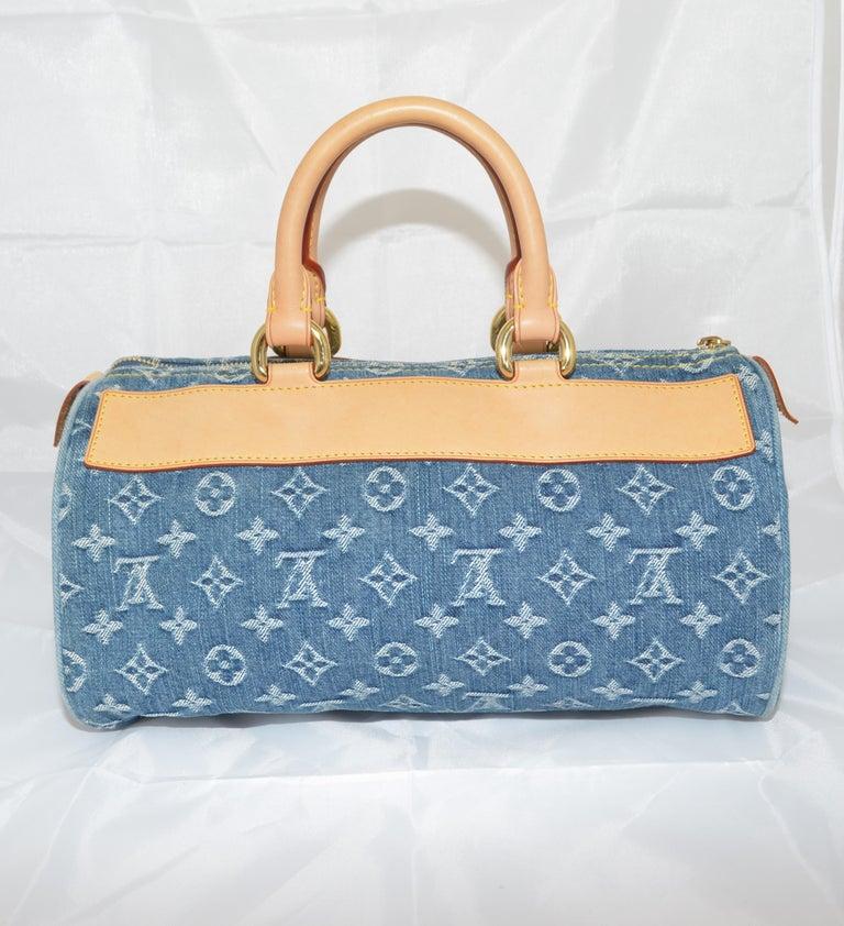Gray Louis Vuitton Denim Monogram Top Handle Neo Speedy Bag For Sale