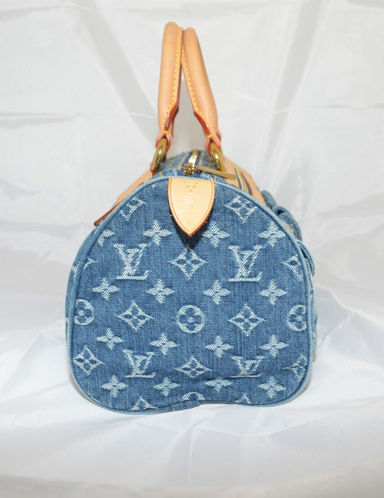 Louis Vuitton Denim Monogram Top Handle Neo Speedy Bag In Excellent Condition For Sale In Carmel by the Sea, CA