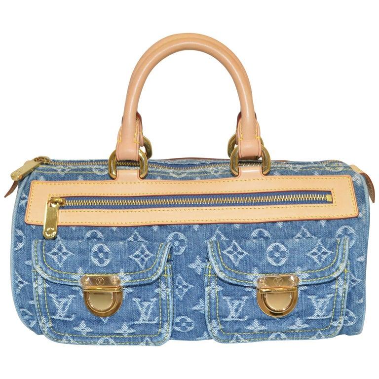 Louis Vuitton Denim Monogram Top Handle Neo Speedy Bag For Sale