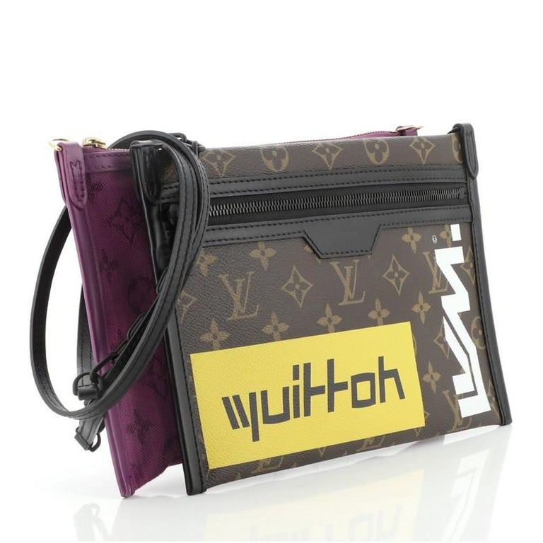 Black Louis Vuitton Double Flat Messenger Bag Limited Edition Logo Story Monogram For Sale