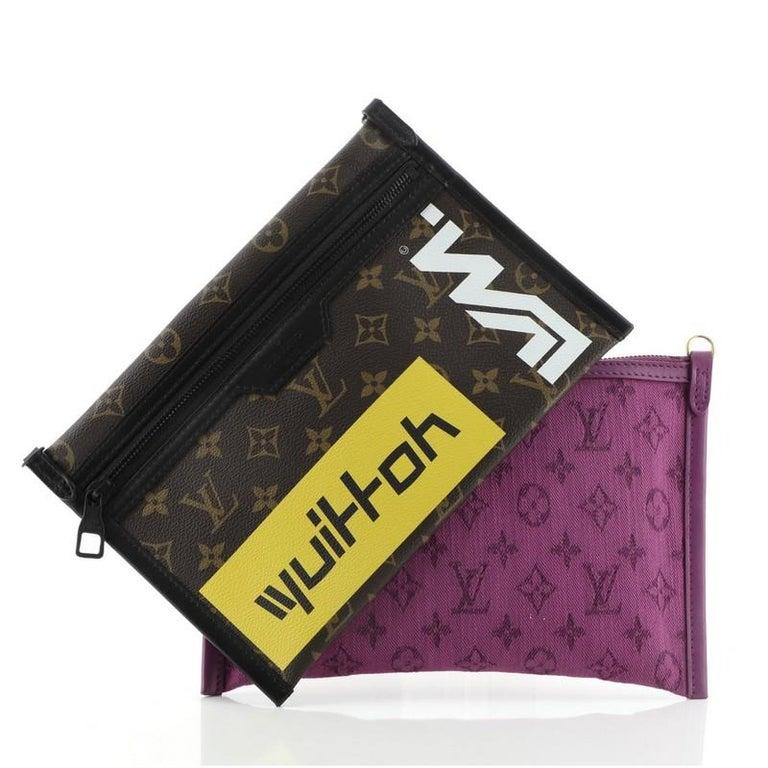 Louis Vuitton Double Flat Messenger Bag Limited Edition Logo Story Monogram For Sale 2