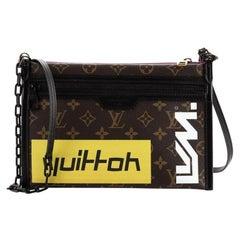 Louis Vuitton Double Flat Messenger Bag Limited Edition Logo Story Monogram