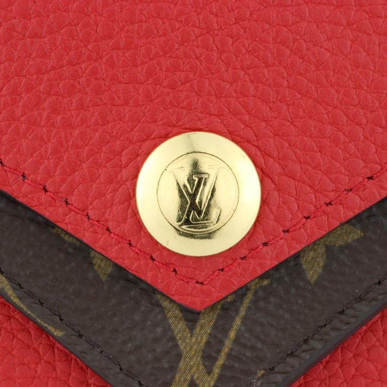 Louis Vuitton Double V Compact Wallet Monogram Canvas Rubis Calf w/GHW 2018 In Excellent Condition For Sale In Huddersfield, GB