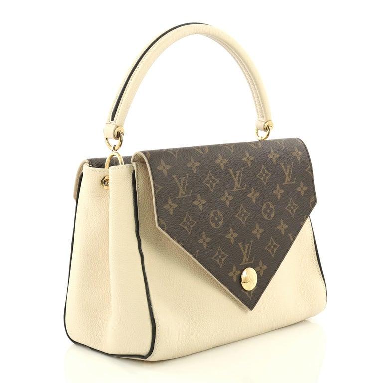 326363bda3 White Louis Vuitton Double V Handbag Calfskin and Monogram Canvas For Sale