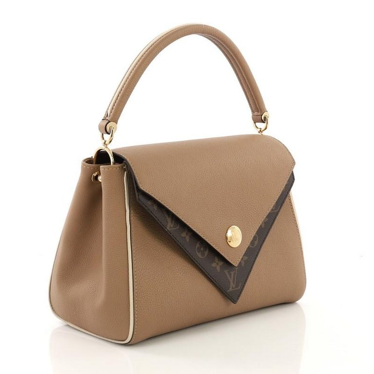 58dce20298 Brown Louis Vuitton Double V Handbag Calfskin and Monogram Canvas For Sale