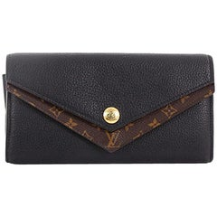 Louis Vuitton Double V Wallet Leather with Monogram Canvas