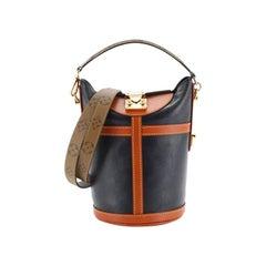Louis Vuitton Duffle Handbag Leather with Reverse Monogram Canvas