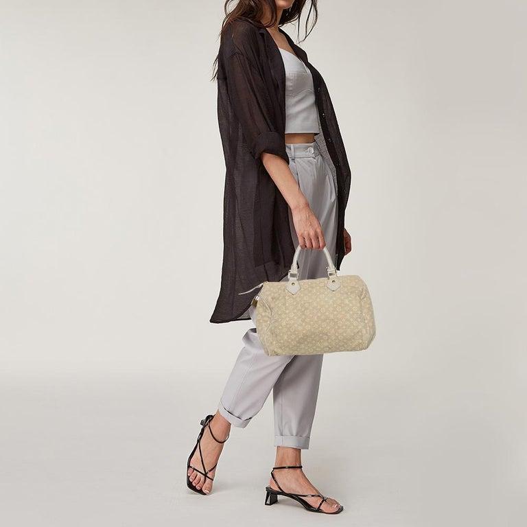 Beige Louis Vuitton Dune Monogram Mini Lin Canvas Speedy 30 Bag