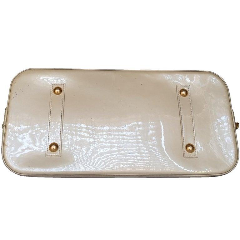 Brown Louis Vuitton Dune Monogram Vernis Alma GM Handbag Satchel For Sale