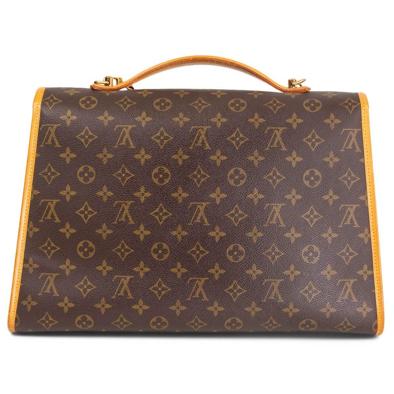 Brown LOUIS VUITTON Ebene brown MONOGRAM CANVAS BEVERLY GM Briefcase Bag For Sale