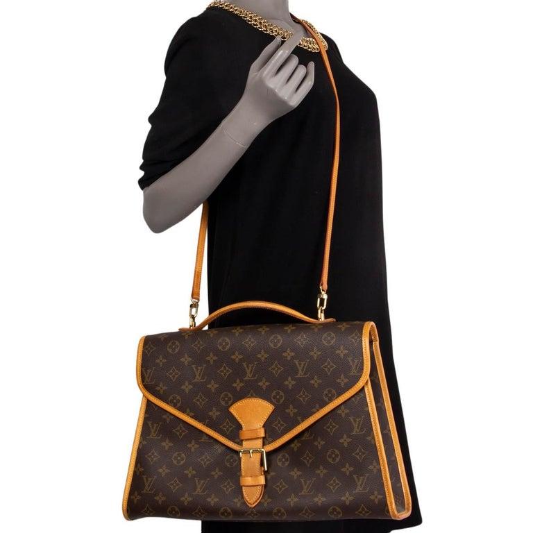 LOUIS VUITTON Ebene brown MONOGRAM CANVAS BEVERLY GM Briefcase Bag For Sale 3