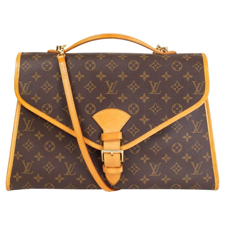 LOUIS VUITTON Ebene brown MONOGRAM CANVAS BEVERLY GM Briefcase Bag For Sale