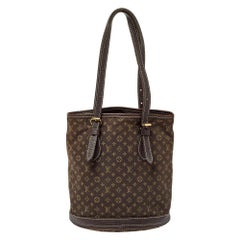 Louis Vuitton Ebene Monogram Mini Lin Canvas Bucket Bag