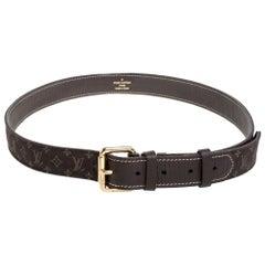 Louis Vuitton Ebene Monogram Mini Lin Canvas Buckle Belt 90CM