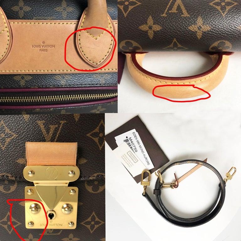 Louis Vuitton Eden MM Monogram Aurore Bag Purse + Shoulder Strap + Dust Cover For Sale 7