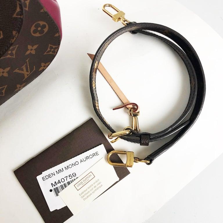 Louis Vuitton Eden MM Monogram Aurore Bag Purse + Shoulder Strap + Dust Cover For Sale 9