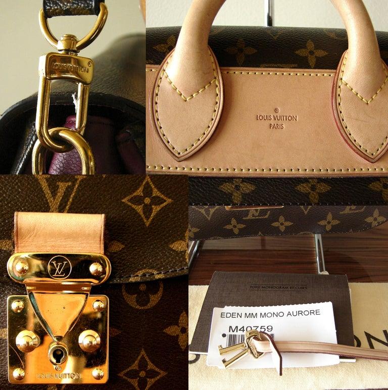 Louis Vuitton Eden MM Monogram Aurore Bag Purse + Shoulder Strap + Dust Cover For Sale 10