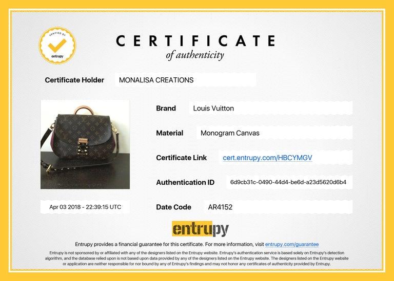 Louis Vuitton Eden MM Monogram Aurore Bag Purse + Shoulder Strap + Dust Cover For Sale 12