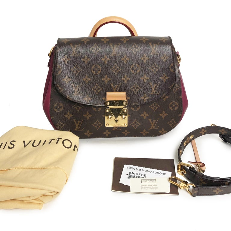 Preowned and authentic Louis Vuitton Eden MM Monogram Aurore Shoulder Bag with shoulder strap, keys and dust bag, made in 2012. 12