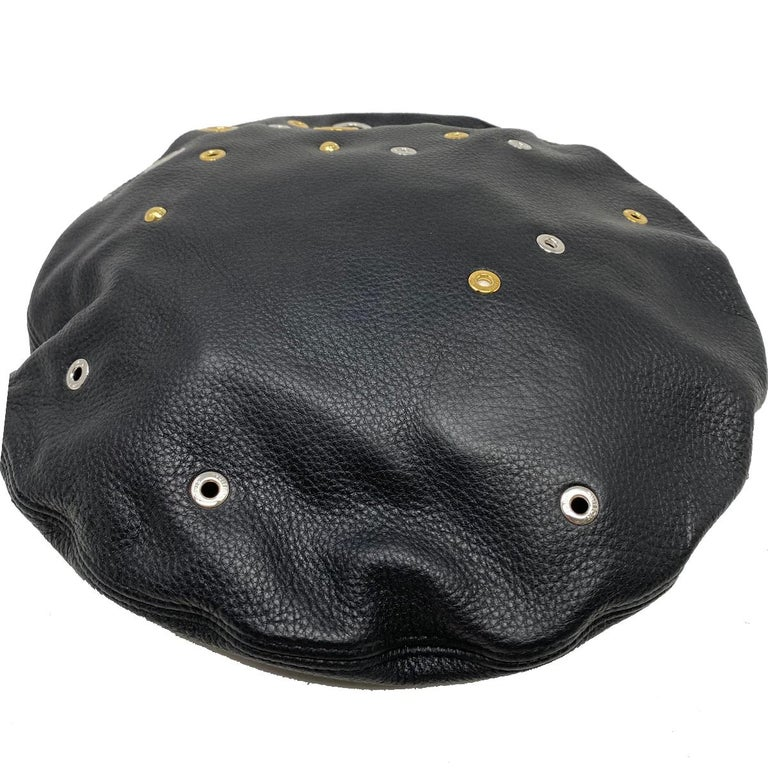 Company-Louis Vuitton Model-Embellished Grommets Black Leather Beret Hat With Box  Color-Black  Date Code-N/A Material-Leather Measurements-33.5