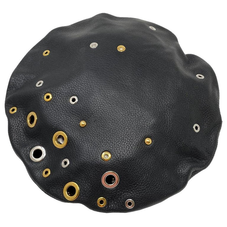Louis Vuitton Embellished Grommets Black Leather Beret Hat With Box  For Sale
