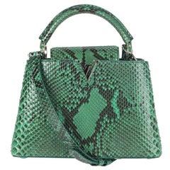 LOUIS VUITTON Emerald green PYTHON CAPUCINES BB Shoulder Bag