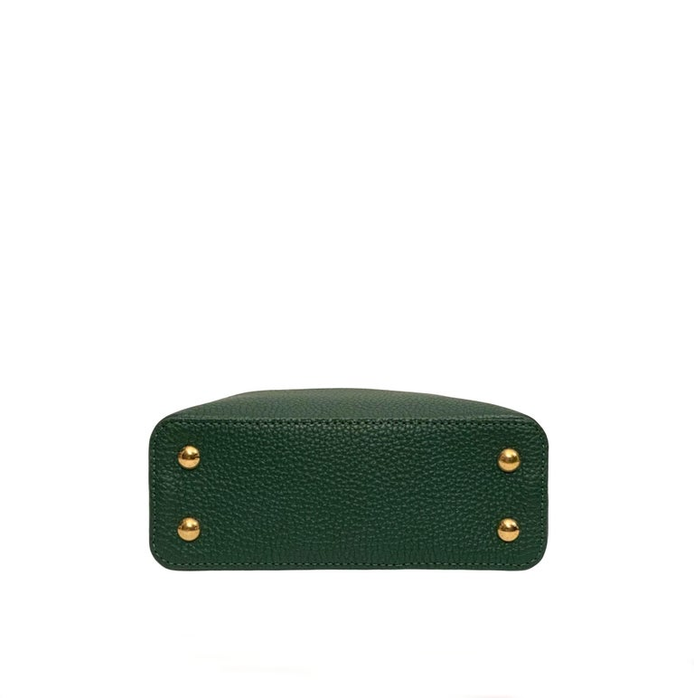 Louis Vuitton Emeraude Green Leather and Python Skin Capucines Mini Bag  For Sale 5
