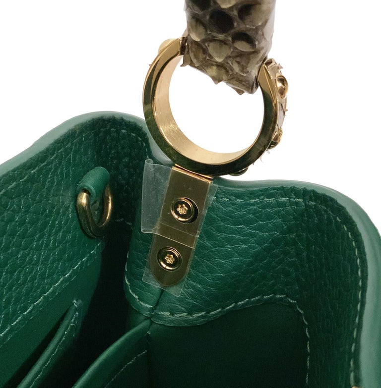 Louis Vuitton Emeraude Green Leather and Python Skin Capucines Mini Bag  For Sale 6