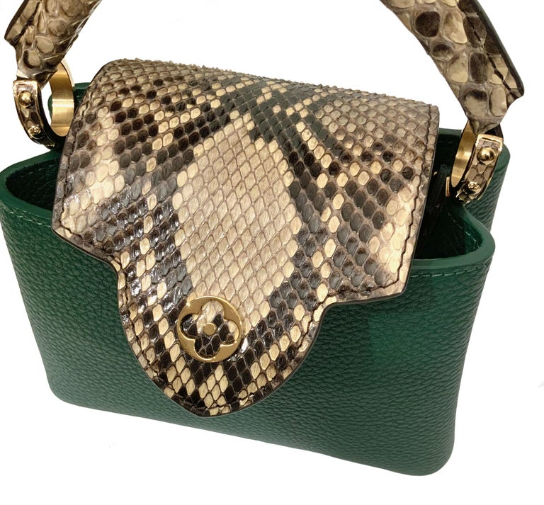 Black Louis Vuitton Emeraude Green Leather and Python Skin Capucines Mini Bag  For Sale
