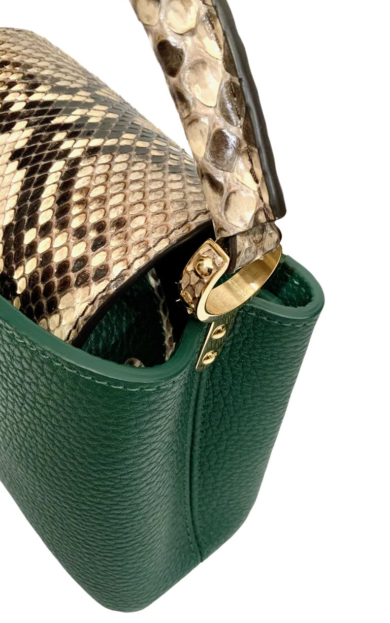 Women's Louis Vuitton Emeraude Green Leather and Python Skin Capucines Mini Bag  For Sale