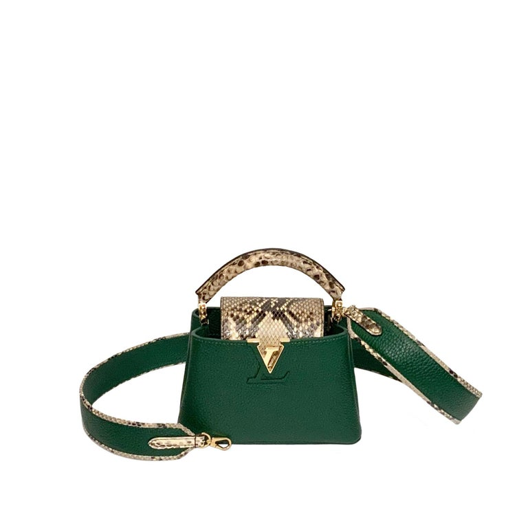 Louis Vuitton Emeraude Green Leather and Python Skin Capucines Mini Bag  For Sale 2