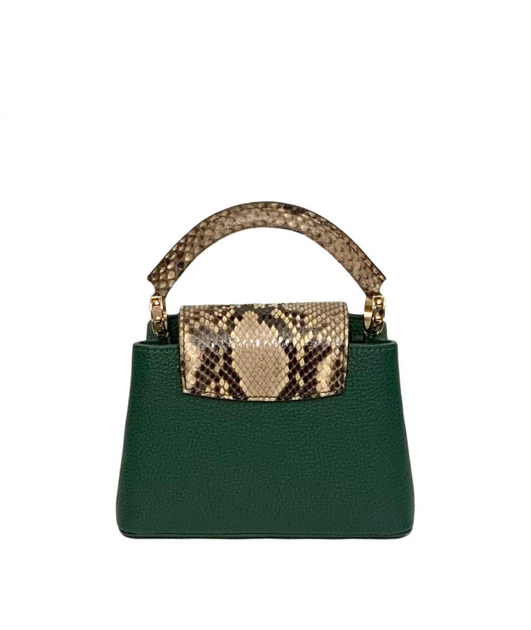 Louis Vuitton Emeraude Green Leather and Python Skin Capucines Mini Bag  For Sale 3