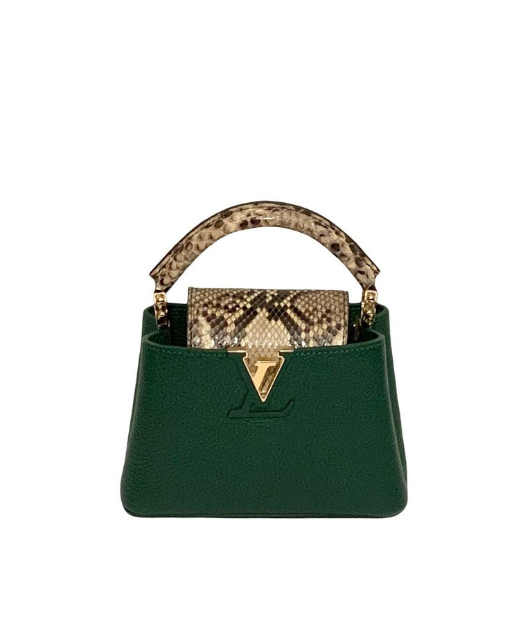 Louis Vuitton Emeraude Green Leather and Python Skin Capucines Mini Bag  For Sale 4