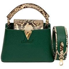 Louis Vuitton Emeraude Green Leather and Python Skin Capucines Mini Bag