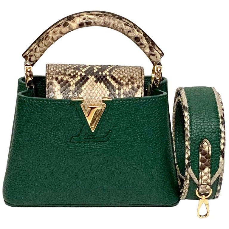Louis Vuitton Emeraude Green Leather and Python Skin Capucines Mini Bag  For Sale