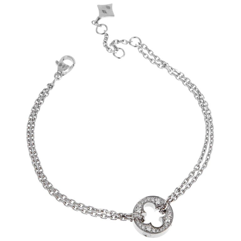 Louis Vuitton Empreinte Diamond White Gold Bracelet For Sale