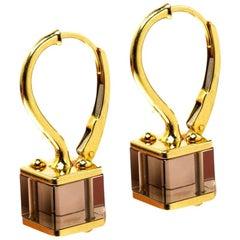 Louis Vuitton Emprise Cube Rauchquarz 18k Gelb Gold Drop Ohrringe