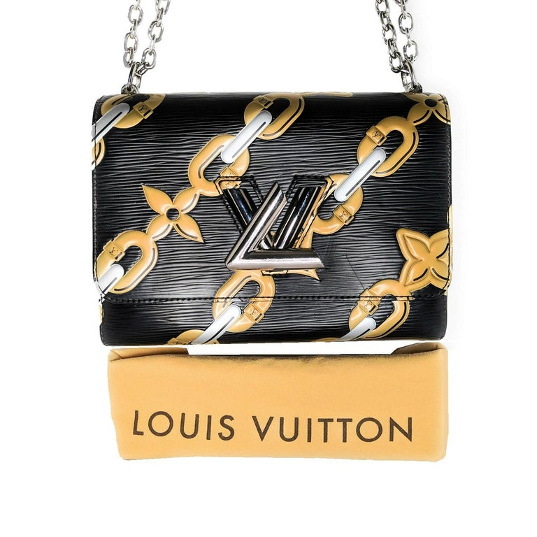 The Louis Vuitton Epi Chain Flower Twist MM is the creation of creative director Nicolas Ghesquiere and is part of the Spring 2016 Chain Flower print. This Twist MM takes the floral motifs from LV's signature monograms and transforms them into links