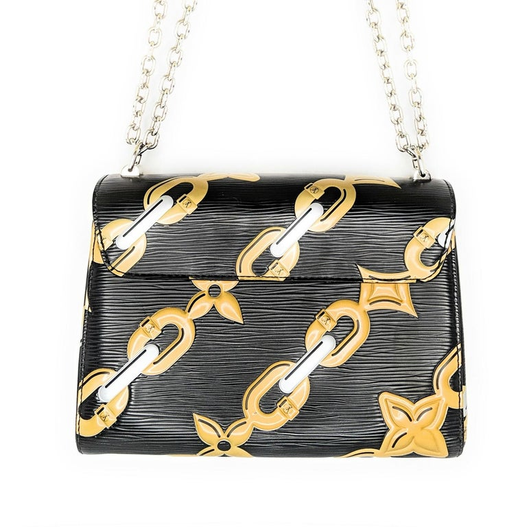Brown Louis Vuitton EPI Chain Flower Print Twist MM Cross-body Bag For Sale