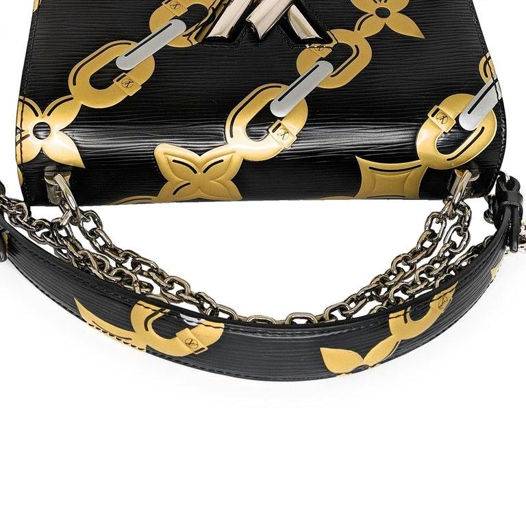 Women's Louis Vuitton EPI Chain Flower Print Twist MM Cross-body Bag For Sale