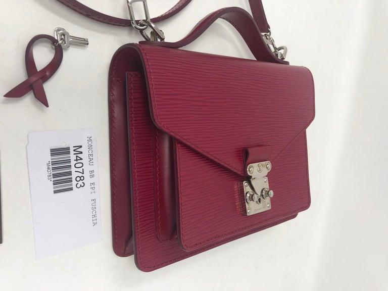 Louis Vuitton Epi Monceau BB Fushia Crossbody For Sale 6