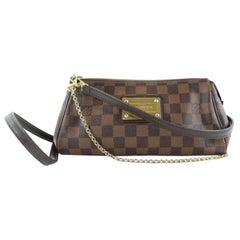Louis Vuitton Eva Damier Ebene 2way 3lz1128 Brown Coated Canvas Cross Body Bag