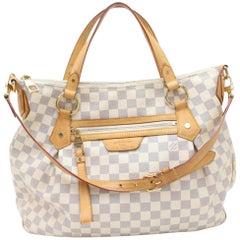 469dddf8711b Louis Vuitton Evora Damier Azur Gm 869863 White Coated Canvas Shoulder Bag