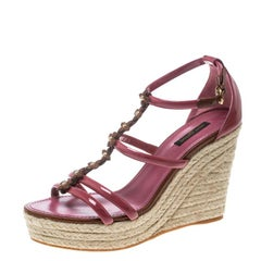 Louis Vuitton Faded Rose Patent Leather Monogram Flower Espadrille Wedge Sandals
