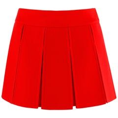LOUIS VUITTON Fall 2003 Marc Jacobs Red Cashmere Mini Gladiator Pleated Skirt