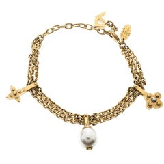 Louis Vuitton Faux Perle Goldton Bettelarmband