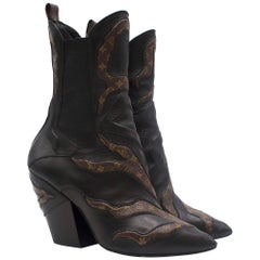 Louis Vuitton Fireball Leather Ankle Boots - Current Season 38.5