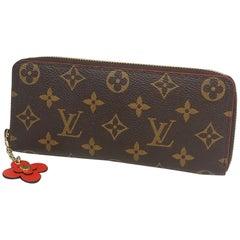 LOUIS VUITTON Flower charm portofeuilles Clemence Womens long wallet M62940 Popp