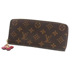LOUIS VUITTON Flower charm portofeuilles Clemence Womens long wallet M64201 Popp