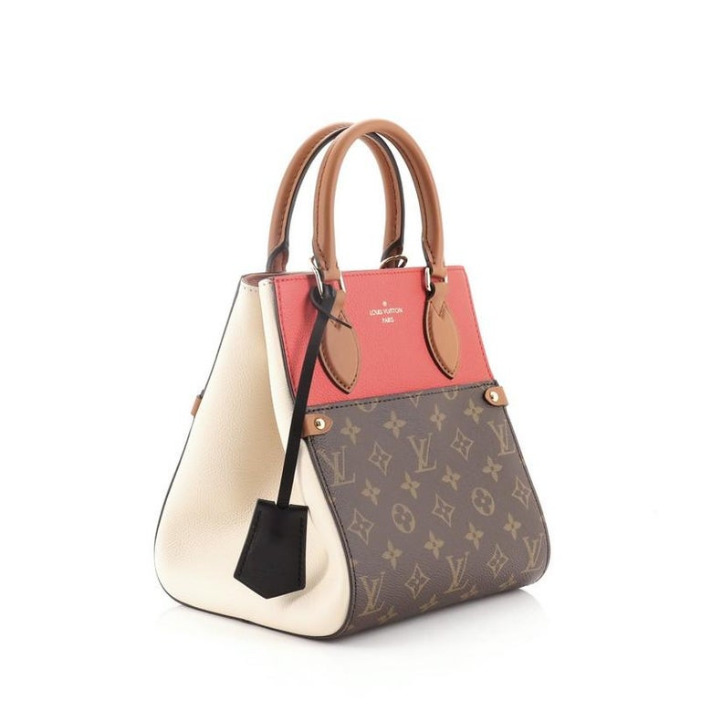 Brown Louis Vuitton Fold Tote Monogram Canvas and Leather PM For Sale